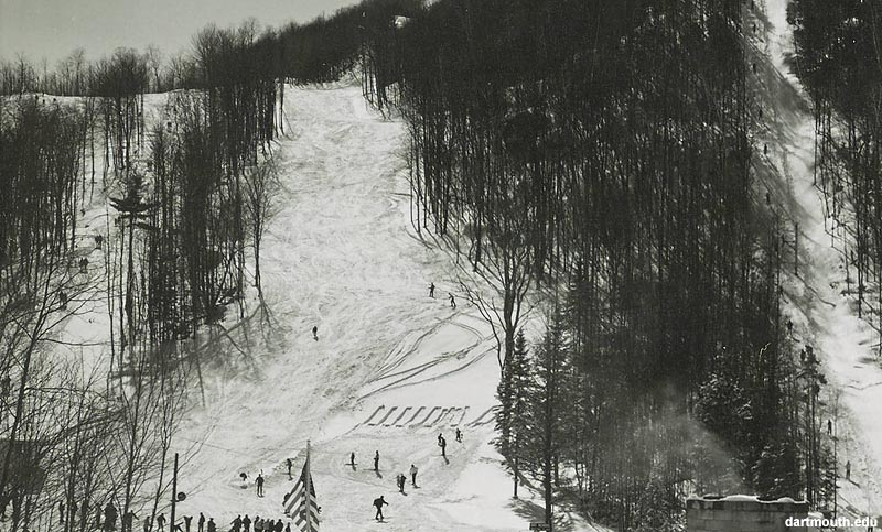 The lift line (left) circa the 1960s