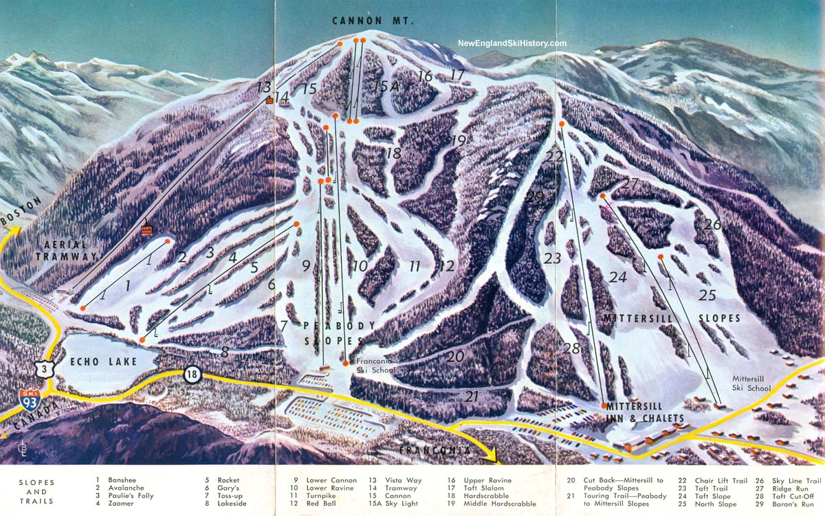 1968-69 cannon mountain-mittersill trail map - new england ski map