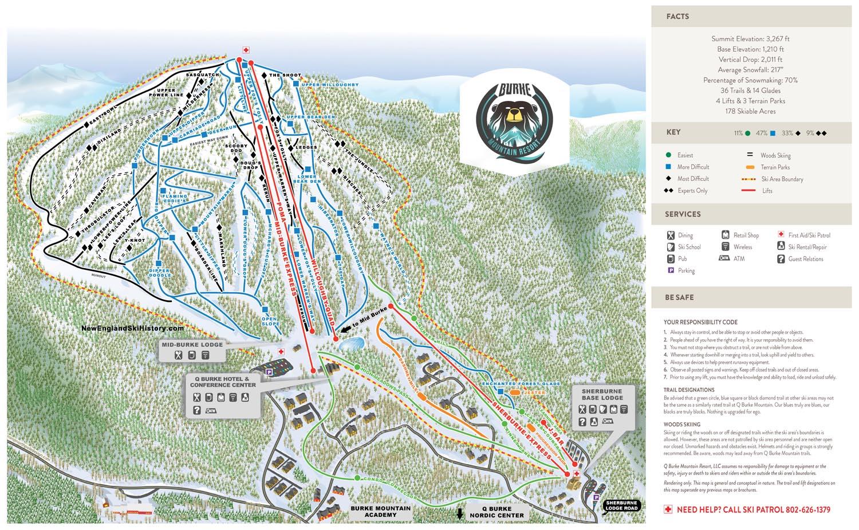 Skiing New England Map.2015 16 Q Burke Trail Map New England Ski Map Database