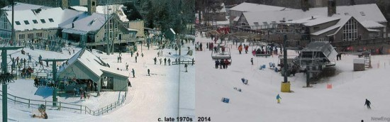 Waterville Valley base area, circa late 1970s vs. 2014